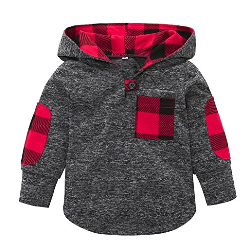 - Fineser TM Toddler Baby Girls Boys Plaid Hooded Sweatshirt With Pocket Pullover Tops Casual Warm Clothes (Gray, 3T)