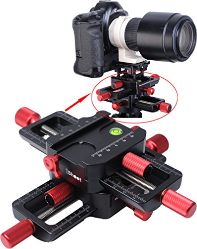 iShoot Universal All Metal 150mm 4-way Macro Focusing Rail Slider Close-up Shooting Head Camera Support Bracket Holder With Arca-Swiss Fit Clamp and Quick Release Plate in Bottom for Tripod Ballhead