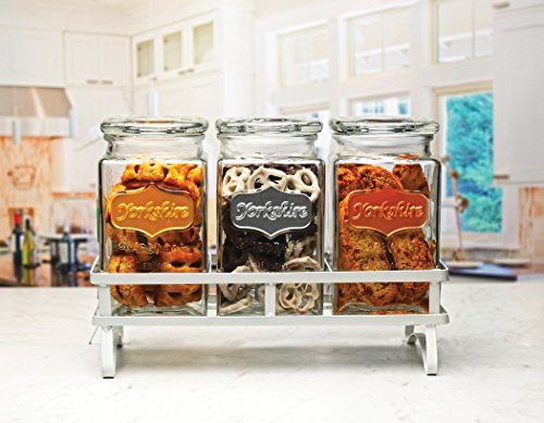 Set of 3 Square Glass Canister Set with Metal Rack, with Tight Lids with 3 Color Metallic Yorkshire Panels, Perfect for Food Storage Jars Kitchen Counter-top Containers