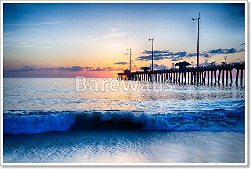 The Rising Sun Peeks Through Clouds And Is Reflected In Waves By The Nags Head Fishing Pier On The Outer Banks Of North Carolina Paper Print Wall Art (28in. x - Head Nags In