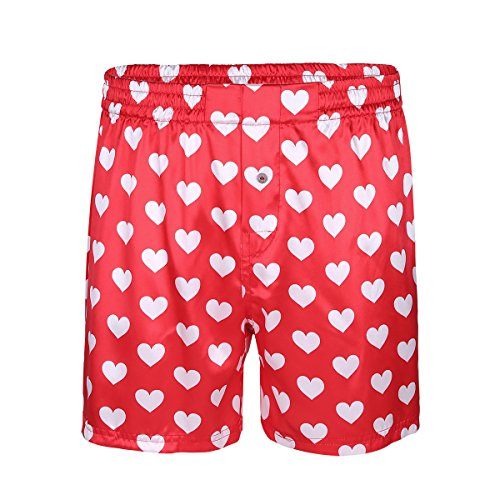 - YiZYiF Men's Silk Lips Print Frilly Shiny Satin Boxer Shorts Lounge Underwear Halloween Heart Print Red Medium(Waist 27.5-43.0