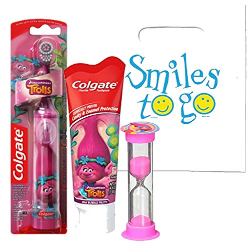 Dreamworks Trolls Girls 3pc Bright Smile Oral Hygiene Set! Turbo Spin Toothbrush, Toothpaste & Brusing Timer! Plus Dental Gift & Remember to Brush Visual Aid!