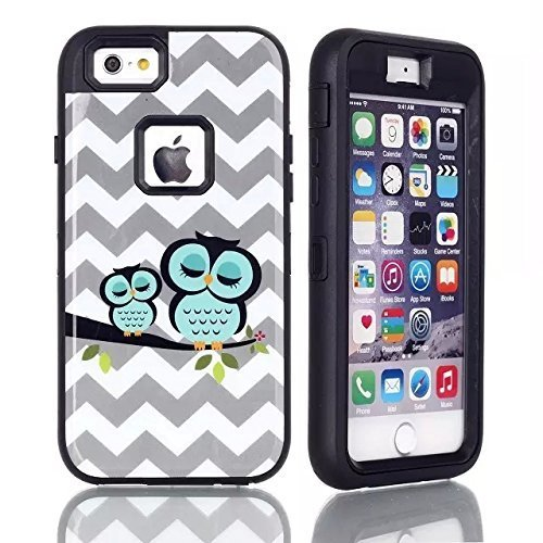 iPhone 6 case, iPhone 6 Owl Case, G-i-Mall Dual Layer Armor Hard / Soft Heavy Duty Impact Resistant Shock Absorbent Drop Protective Cases Fit For iPhone 6 (4.7) - Cute Owl Design/ Black (Free gifts: 1x iPhone 6 Screen Protector, 1x Touch Pen, 1x Anti Dust Plug) (I Pine 6 Plus)