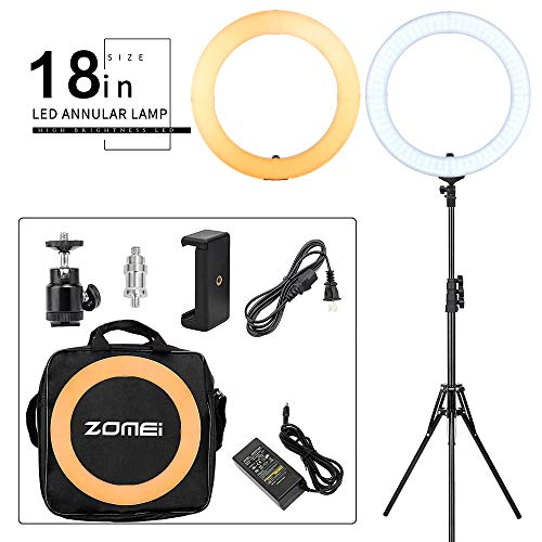ZOMEI 18-inch LED Dimmable Ring Light with Stand One-Piece Warm Color Filter Cell Phone Clip for Beauty Facial Make Up Live Stream Camera YouTube Video by BAIPAK (Image #8)