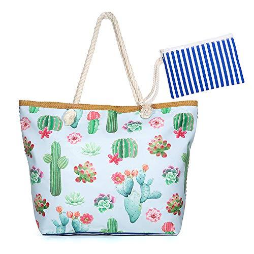 Jolintek Bolsa de Playa Grande Bolsa de Playa de Lona Bolsos de Mano Shopper Bolsa de Playa Bolsas de Viaje con Cremallera para Mujeres y Niñas (04)