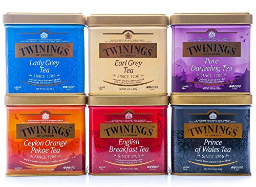 Juego de te negro Twinings of London, Lady Grey, Earl Grey, Darjeeling, Cylon Orange, English Breakfast, Prince of Wales, 6x100g