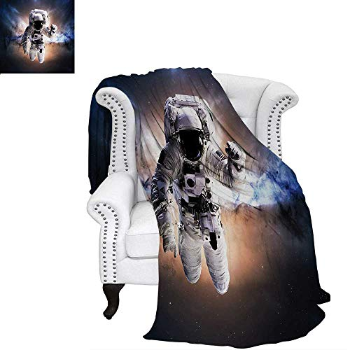 warmfamily Astronaut Warm Microfiber All Season Blanket for Bed or Couch Floating Astronaut in Space Nebula Heavenly Bodies Star Systems Love Science Throw Blanket 90
