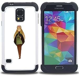 BullDog Case - FOR/Samsung Galaxy S5 I9600 G9009 G9008V / - / WOMAN GIRL PAINTING PRINCESS ART FAIRY CROWN /- H??brido Heavy Duty caja del tel??fono protector din??mico - silicona suave