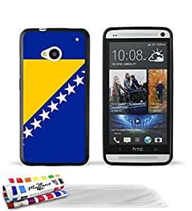 """Carcasa Flexible Ultra-Slim HTC ONE de exclusivo motivo [Bosnia y Herzegovina Bandera] [Negra] de MUZZANO  + 3 Pelliculas de Pantalla """"UltraClear"""" + ESTILETE y PAÑO MUZZANO REGALADOS - La Protección Antigolpes ULTIMA, ELEGANTE Y DURADERA para su HTC ONE"""