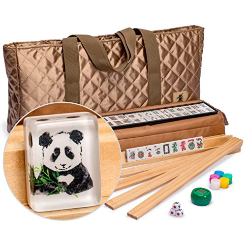 Yellow Mountain Imports American Mahjong Set, Panda Tiles with Tawny Brown Fabric Case - 4 All-in-One Racks with Pushers, Dice, Wind Indicator & Wright Patterson Scoring Coins (Chinese Mah Jongg Coins)
