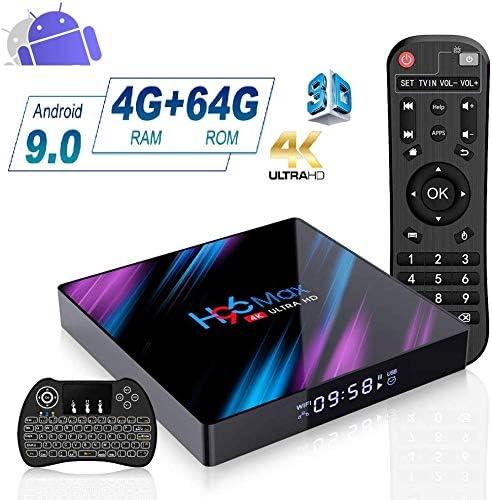 DOOK TV Box Android 9.0-H96 MAX 4GB RAM+64GB ROM Mini Smart TV Box con RK3318 Quad-Core 64bit Cortex-A53/4K HD/3D/Bluetooth 4.0/2.4/5.0GHz WiFi/LAN10/100M,con Mini Teclado Inalámbrico: Amazon.es: Deportes y aire libre