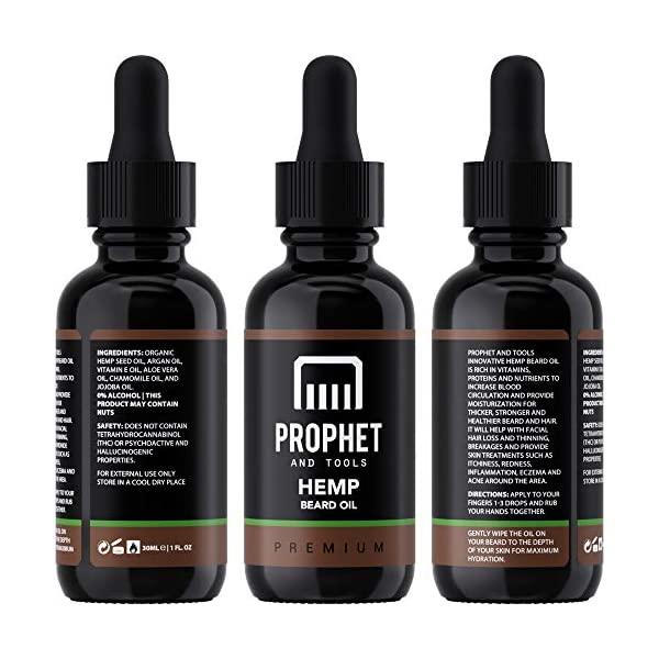 PREMIUM Hemp Beard Oil for Men [30ml] – Designed for Instant Pain Relief, Hydration, Softening and Thicker Facial Hair Growth – Organic, Nuts-Free & Vegan Approved