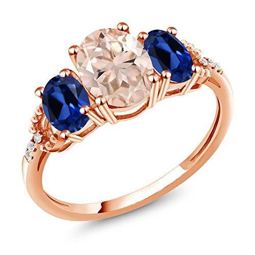 Gem Stone King 2.04Ct Peach Morganite Blue Simulated Sapphire 10K Rose Gold Diamond Accent Ring (Size 7)