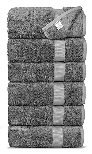 Chakir Turkish Linens Luxury Ultra Soft Bamboo 6-Piece Hand Towel Set - Soft, Absorbent and Eco-Friendly (Gray)