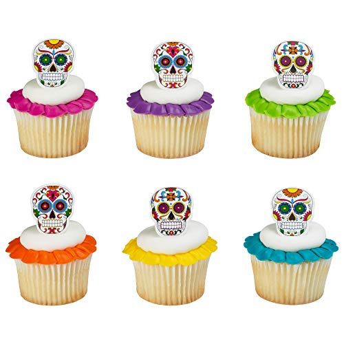 (Baking Addict Cupcake Topper Decorations Cake Pop Dessert Decorating Rings Skeleton Dia De Muertos, Wholesale Case of 1152 (8 Packs of)