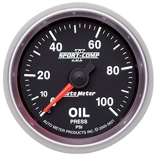 "Auto Meter 3621 2-1/16"" 0-100 PSI Mechanical Oil Pressure Gauge"