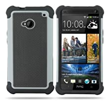 HELPYOU Gray HTC M7 New Fashion Hybrid Combo Black Soft Silicone Rugged With Hard PC Back Case Protective Cover for HTC One M7