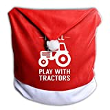 G7M42B&78 Christmas Chair Back Cover, I Still Play with Tractors Santa Red Hat Slip Covers Christmas Festival Dining