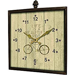 Manual Woodworkers Cycling Life is a Beautiful Ride Bicycle Square Wood Wall Clock 15.75x17.75