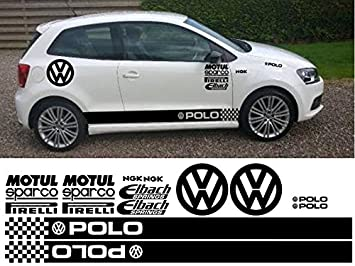 VOLKSWAGEN POLO KIT x16pc GRAPHICS STICKERS DECALS (White