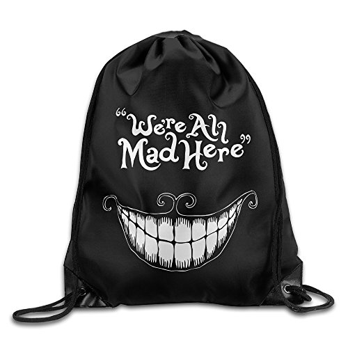 Unisex Drawstring Backpack Alice In Wonderland-We're All Mad Here Slouchy Summer Bags (Alice In Wonderland Tights)