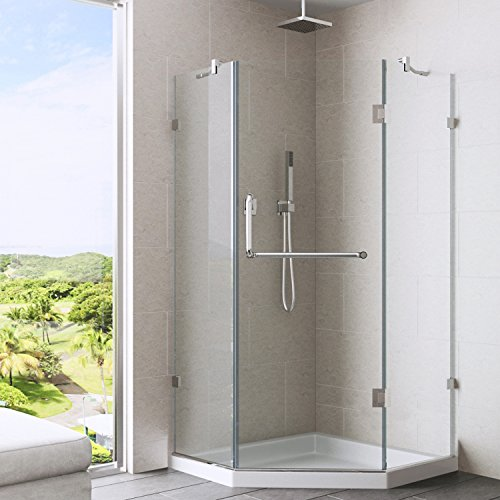 VIGO VG6062CHCL40WS 40 by 40 Frameless Neo-Angle Shower Enclosure with Low-Profile Base, Clear/Chrome