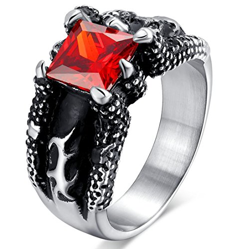 Men's Vintage Pinky Crystal Gothic Fire Dragon Claw Design Stainless Steel Biker Ring Band With Gift Box - Top Gun His And Hers Costumes