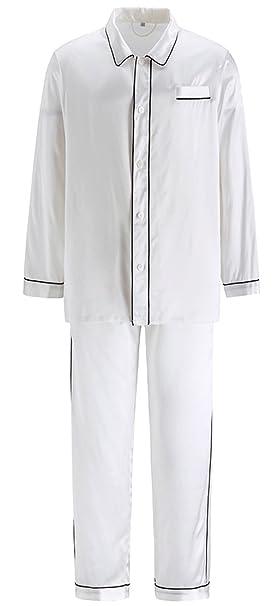 LILYSILK Pijamas Hombre Seda Solapa Clásico, 100% Seda De Mora De 22 Momme,
