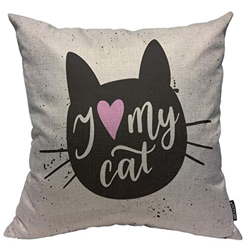 Mugod Black Cat Throw Pillow Cover I Love My Cat Fashion Graphic Print Decorative Square Pillow Case for Home Bedroom Living Room Cushion Cover 18x18 Inch