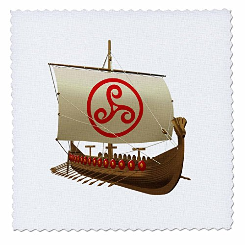 3dRose qs_180529_1 A Viking Ship with Sail Against a White Background-Quilt Square, 10 by 10-Inch
