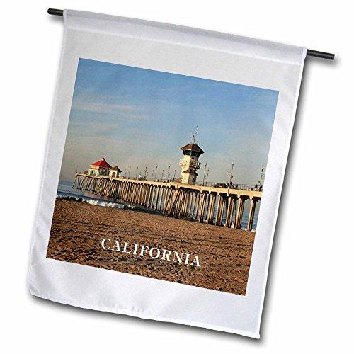3dRose fl_80862_1 Pier at Huntington Beach California Garden Flag, 12 by 18-Inch