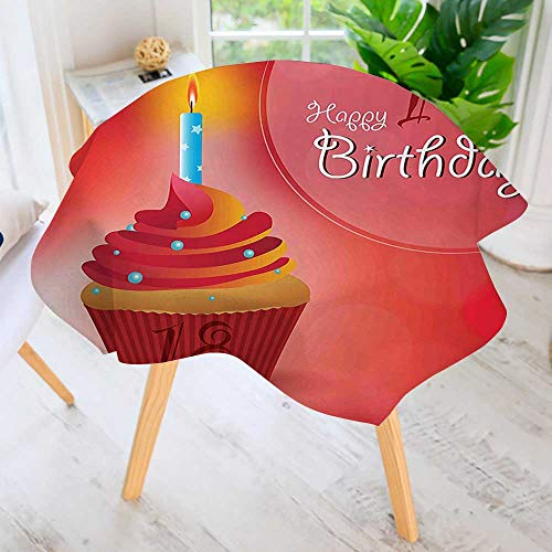 UHOO2018 Circular Solid Polyester Tablecloth-Decoration Sweet Eighteen Party Birthday Cupcake with Candles Hot Pink Red and Orange for Wedding Restaurant Buffet Table Decoration 47.5