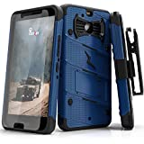 Zizo Bolt Series Compatible with HTC Bolt with [Screen Protector] Kickstand [Military Grade Drop Tested] Holster Belt Clip (Blue/Black)