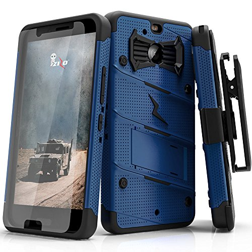 (Zizo Bolt Series Compatible with HTC Bolt with [Screen Protector] Kickstand [Military Grade Drop Tested] Holster Belt Clip (Blue/Black))