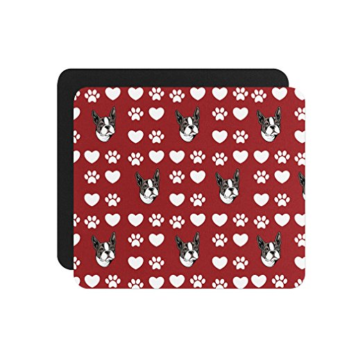 - Boston Terrier Dog Red Paw Heart Computer Laptop Mouse Pad