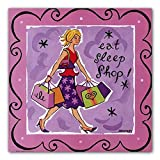Girl Talk Shopping by Jennifer Brinley~Humorous UNFRAMED Art Print~Eat, Sleep, Shop