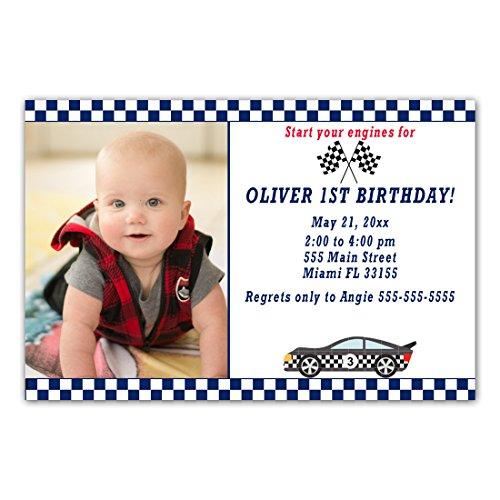 30 Invitations Race Boy Birthday Party Photo Paper