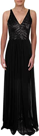 Dress the Population Womens 1518-1200 Lori Sequin and Chiffon Fit & Flare Sleeveless Long Dress Sleeveless Dress