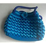 Blue and light blue color with hand-woven bag