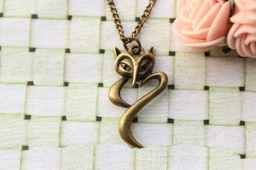 Fox Necklace,Cute Fox Charm Necklace,Best Gift for Your Lover Girlfriend and Friends,Retro Bronze Fox Necklace
