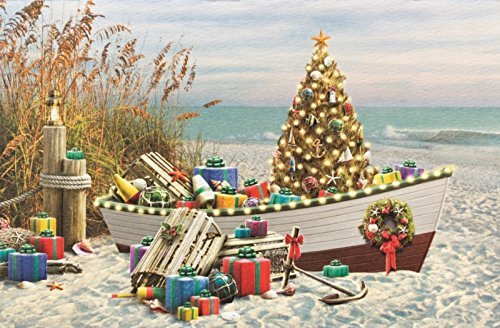 Nautical Noel Boat Filled with Gifts and Tree 16 Boxed Holiday Cards w/Envelopes
