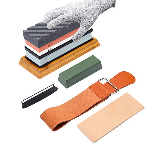 Complete Knife Sharpening Stone Kit-400/1000 and 3000/8000 Grit Whetstone set
