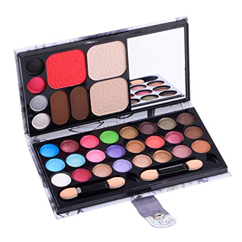 (Makeup Palette 33 Bright Colors Matter and Shimmer Eyeshadow Blush Brushes Makeup Eyeshadow Pallet Highly Pigmented Cosmetic Palette for Girls Christmas Birthday Gift Makeup Kit Eyeshadow)