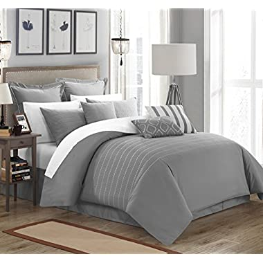 Chic Home 13 Piece Brenton Super Rich Microfiber Stitch Embroidered Comforter Set. King, Grey, with 4 White Sheet Set