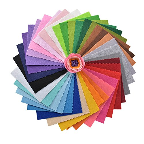 PinkSheep DIY Polyester Felt Nonwoven Fabric Sheet for Craft Work, 40 Pcs Assorted Color , About 1mm Thick,Quilting Supplies (11.81x11.81inch) by PinkSheep