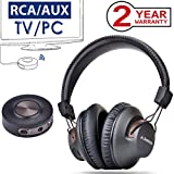 Avantree Wireless Headphones for TV Watching with Bluetooth Transmitter, Plug & Play, No Delay, 100FT LONG RANGE, 40 Hours Battery, Support RCA, 3.5mm AUX, USB Audio (NO OPTICAL) PC Game - HT3189
