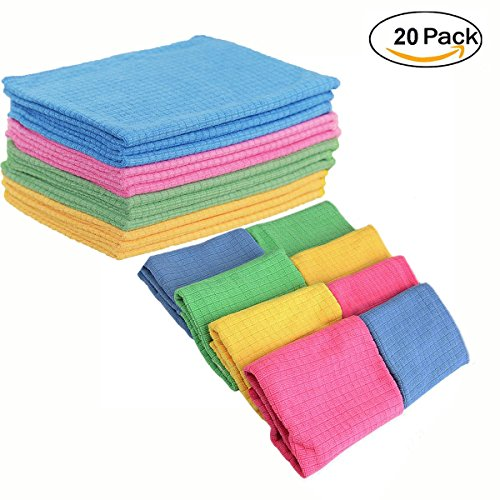 Magic Color Scratch Cross ((20 pack) 12 in. x 16 in. Microfiber Cloths Quick Absorbent Easily Remove Oil & Smudges- 4 Colors)