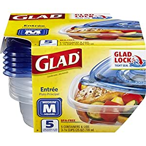 Glad Food Storage Containers - Entrée Container - 25 Ounce - 5 Containers