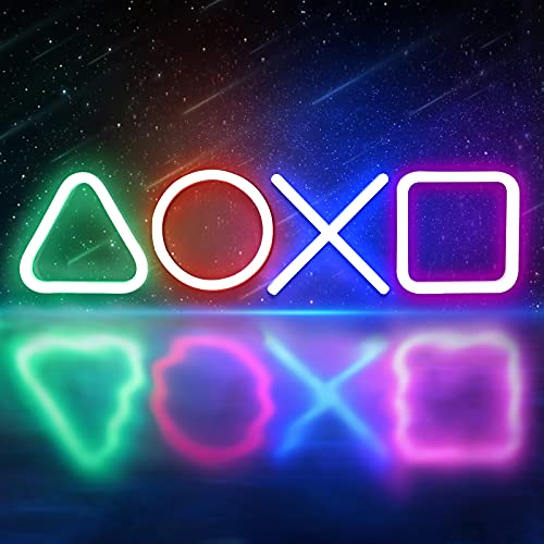 Imoli Personalized Led Neon Lights Sign for Bedroom Wall Decor Adjustable Brightness with USB Powered Playstation Gaming Accessories Icons Acrylic Light Decor for Party Birthday Gift Bar PS5 Game Room