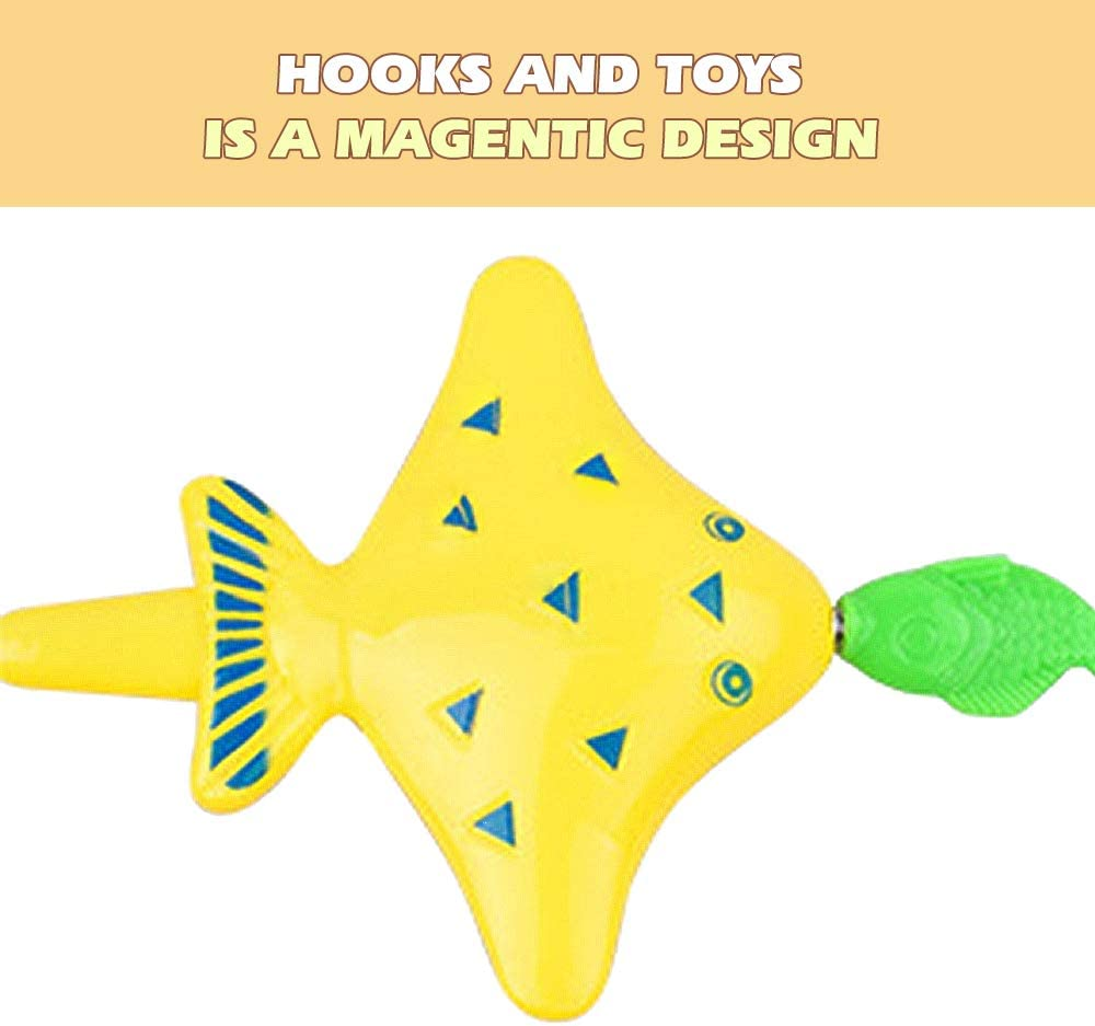 VCOSTORE 41 Pcs Magnetic Fishing Pool Toys with Pold Rod Pool Net Pocket Marine Life Water Toys Educational Gifts for Kids 3-10 Summer Pool Party Favors